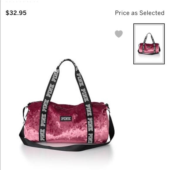 7aefb79c4445 Victoria Secret Pink Velvet Duffle Bag